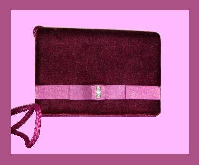 Plum Velvet Pink Satin Rhinestone Braided Evening Bag Purse