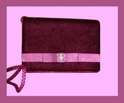 Plum Velvet Pink Satin Rhinestone Braided Evening Bag Purse - $19.99