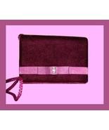 Plum Velvet Pink Satin Rhinestone Braided Evening Bag Purse - $19.99