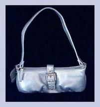 Baby Blue Metallic & Rhinestone Evening Bag Cell Phone Purse - $19.99