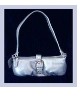 Baby Blue Metallic & Rhinestone Evening Bag Cell Phone Purse - $39.99