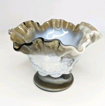 Westmoreland Paneled Grape Marbled Russet Slag Glass Compote With Ruffled Edge - $24.18