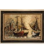 "Vintage Oil Painting Bernard 36""x 23"". Signed - $467.50"