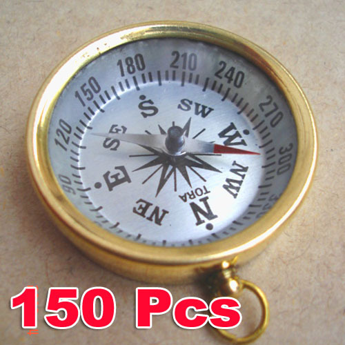Brass COMPASS KEYCHAIN 150pcs Wholesale LOT NAUTICAL GIFT  Guarantee LowestPrice