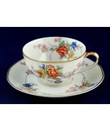Theodore Haviland Jewel Cup & Saucer Cream Rim w Floral Limoges 1930s Un... - $24.00