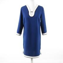 Navy blue white ANN TAYLOR stretch 3/4 sleeve shift dress S - $29.99