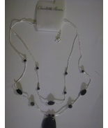 Charlotte Russe Black And Silver Double Strand  Necklace - $2.49