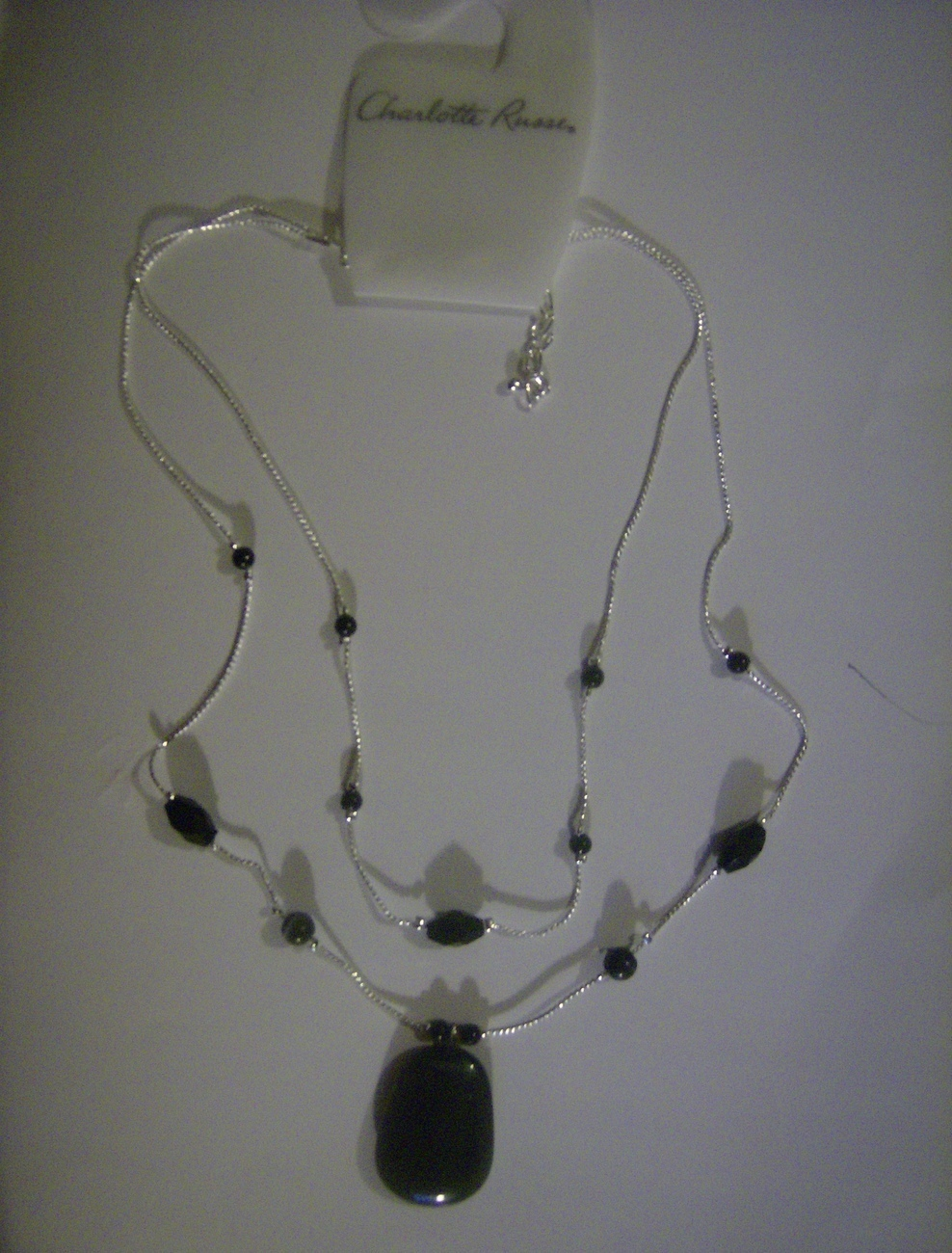 Charlotte Russe Black And Silver Double Strand  Necklace