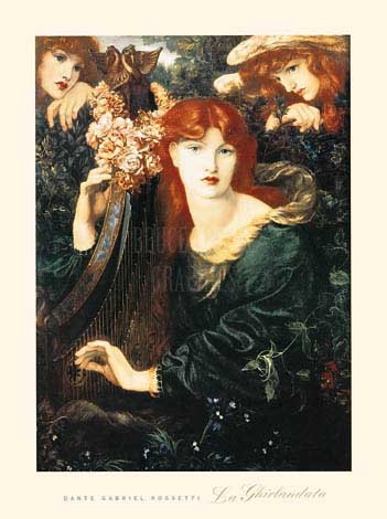 ANGELS & RED HAIRED WOMAN PLAYING HARP 24x18 Fine Art Print