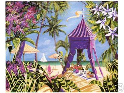 PICNIC ON THE BEACH Fine Art Print Lithograph 12x10 Signed