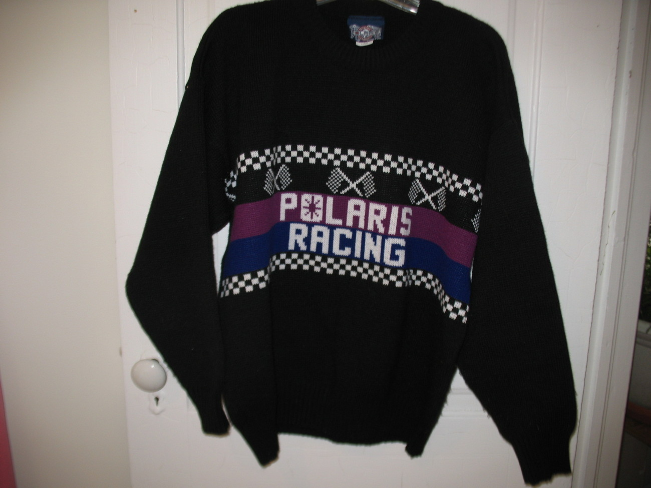 Polaris Snowmobile Sweater Black winter Racing Large USA Vintage