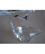 Collectible Solid Clear Glass Figural Swan Paperweight, Controlled Bubbles - $12.99