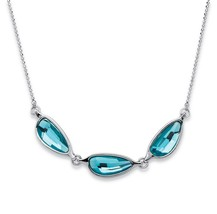"Palm Beach Jewelry Crystal Swarovski Elements Necklace In Silvertone 18""-20"" - $19.49"