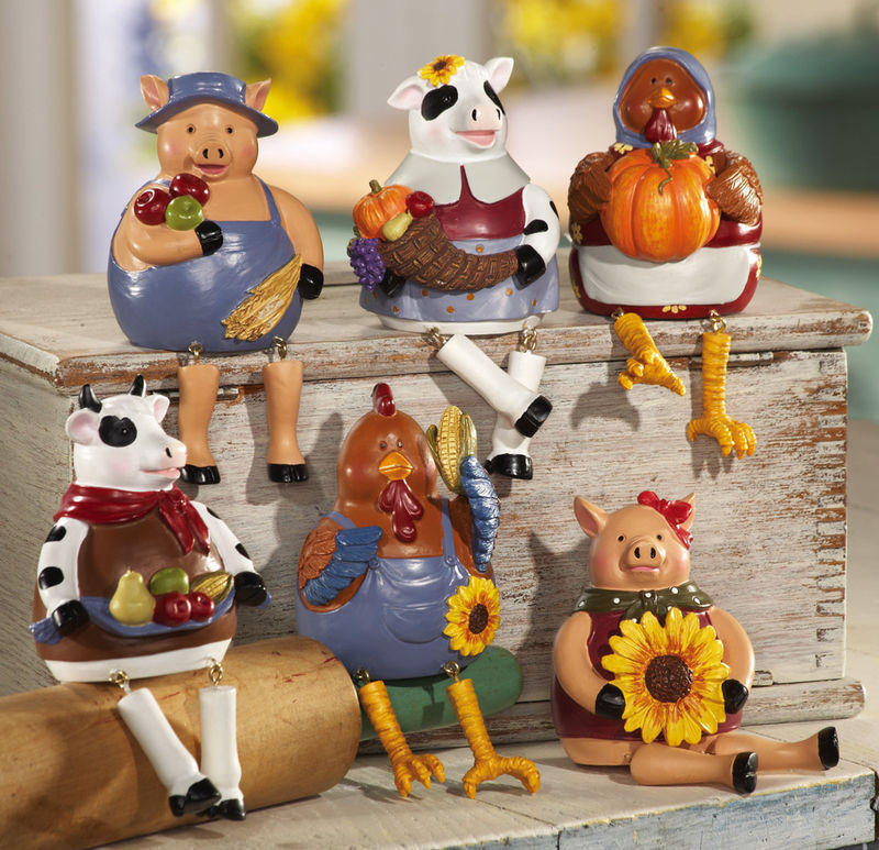 Primary image for 6 Pc Country Barnyard Animals Collectible Sitters New