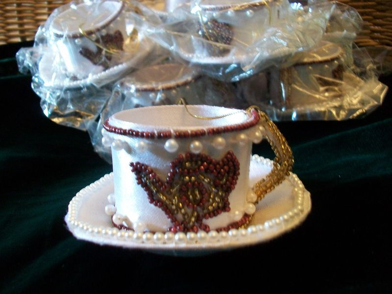 Primary image for 8 Beaded Holiday TEA CUP & SAUCER Christmas Decor Ornaments