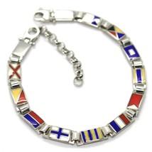 Bracelet Silver 925, Flags Nautical Glazed Tiles, Long 18 cm, Thickness 5 MM image 1