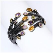 1989 Vintage Fashion Cuff Bracelet for Women Multi-Colors CZ Bezel Dragon Claw B - $69.07