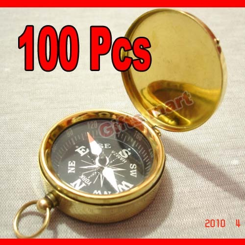 Brass COMPASS with Lid KEY CHAIN Wholesale LOT 100pcs NAUTICAL GIFT  LowestPrice