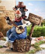 Banjo Country Music Cow In Overalls Garden Stat... - $19.80