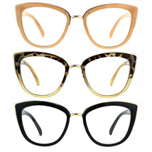 Womens Goth Cat Eye Clear Lens Luxury Diva Glasses - $12.95