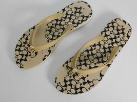 Coach AMEL Sandals Flip Flops Black Cream/Beige Gold Bow Size 8B - $19.79
