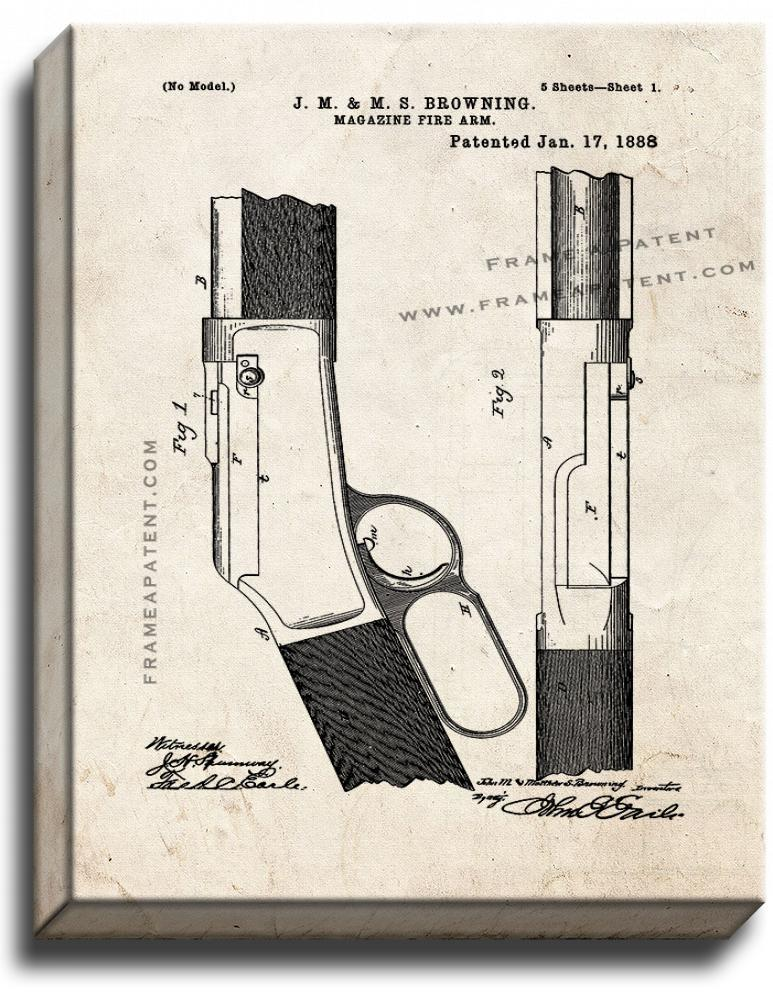 Primary image for Rifle Patent Print Old Look on Canvas