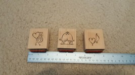 STAMPIN UP Rubber Stamps Lot of 3 Love Bug Love Notes Love Birds # - $10.84