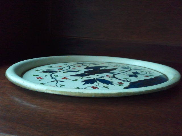 Americana Hand Painted Oval Metal Tray
