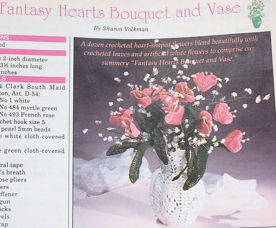 Quilt Basket Kitchen Set & Hearts Bouquet & Vase Patterns/Crochet World