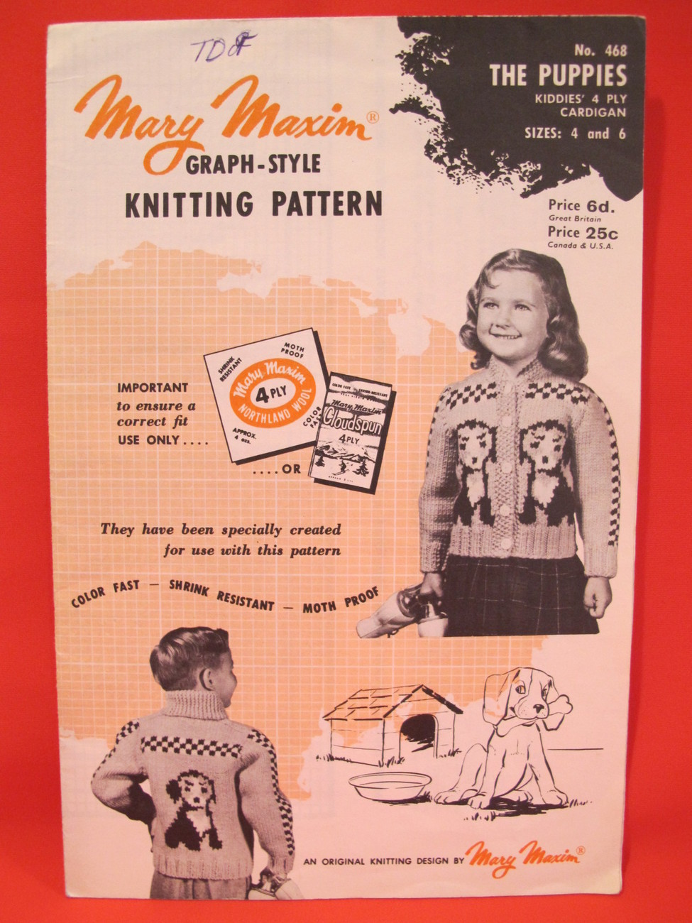Vintage Mary Maxim Knitting Patterns Puppy Dogs Cardigan Sweater CHILDREN