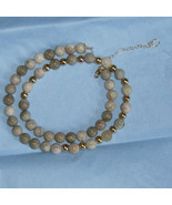 african 9mm opal and gold bead necklace - $30.00