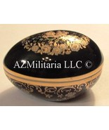 Limoges Castel 22k Gold & Cobalt Oval Trinket Box Vintage - $29.75