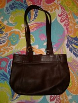VTG COACH - beautiful TOTE BUCKET BAG brown LEATHER SHOUDER SATCHEL - $52.71