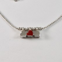 925 Sterling Silver Necklace Jack&co with Hearts Transparencies and Enamelled image 2