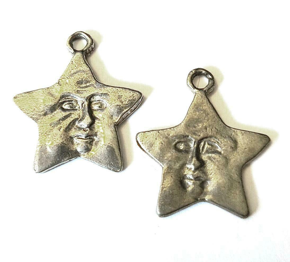 Star With Face Fine Pewter Charm Pendant   ~ 7/8 Inch Tall   (T207)