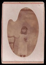 Antique Photograph CDV Darling Little Girl Flower Bouquet Artist Palette... - $12.99