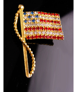 "Rhinestone Flag brooch / Patriotic jewelry / USA red white Blue / 2"" Vin... - £36.24 GBP"