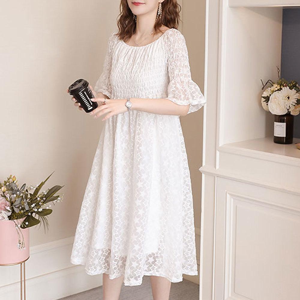Maternity Dress Slash Neck Short Flare Sleeve Slim Fit Tulle Midi Dress