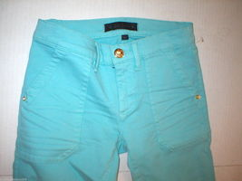 New Logo Crop Jeans Juicy Couture 25 Womens Snap Pockets Aqua Blue Teal Skinny image 4
