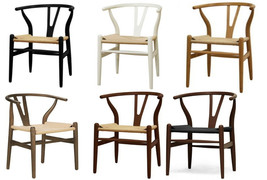 2x Danish Wishbone Y C24 Style Dining Chairs in Natural Black White Brow... - $389.95