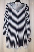 NEW AVA & VIV WOMENS PLUS SIZE 4X NAVY BLUE & WHITE SWIMSUIT COVER UP DRESS - $20.31