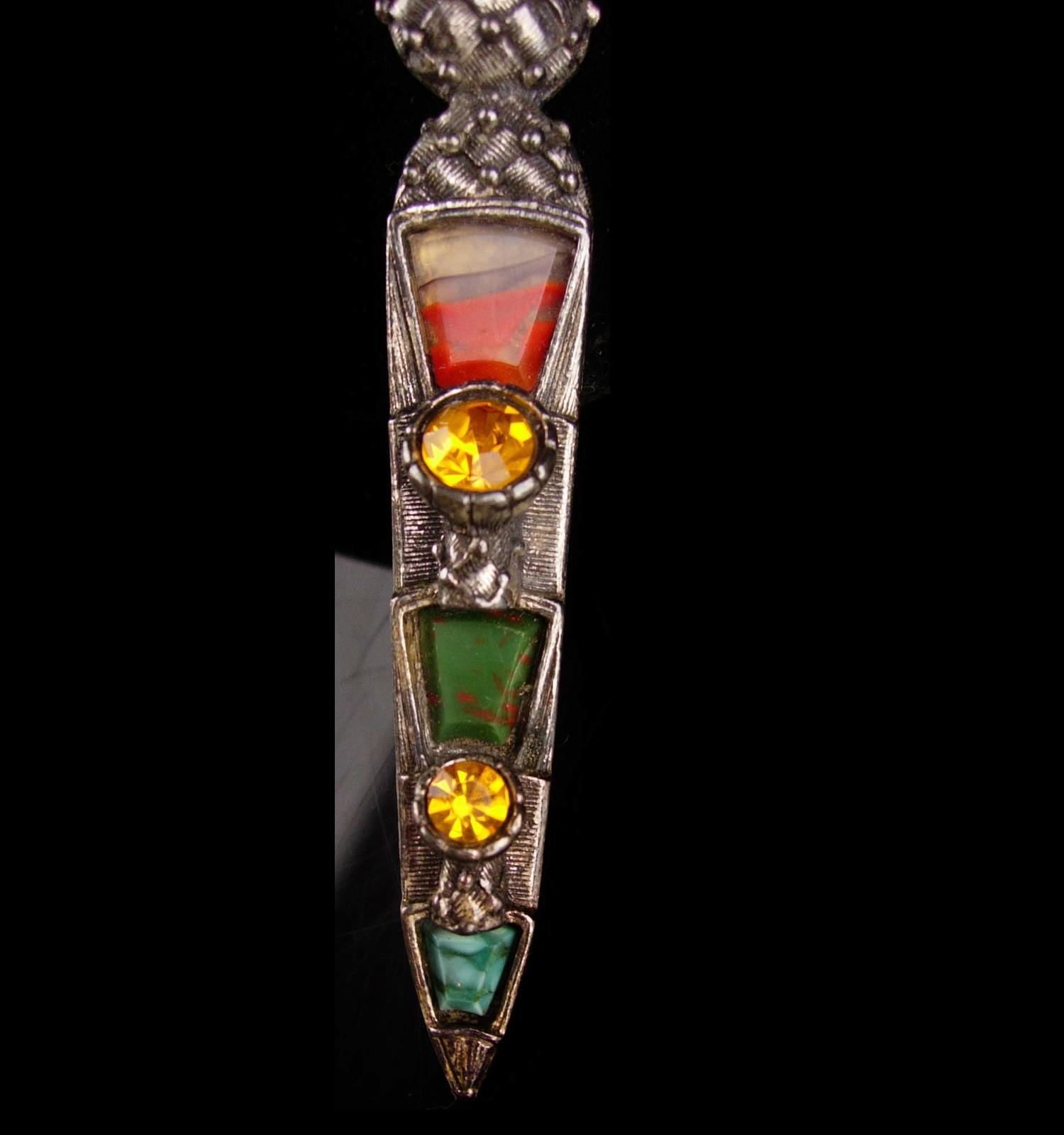 """LARGE Vintage Brooch Scottish Dirk Kilt pin - bloodstone  citrine agate 3 1/2"""" l image 3"""