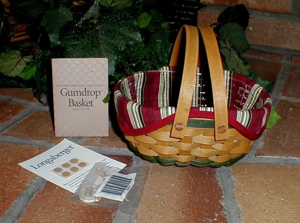 Longaberger 2004 Gumdrop Tree Trimming Basket Ivy Green Fabric Liner Only New