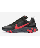 Nike Men's React Element 55 Shoes NEW AUTHENTIC Black/Red/Grey BQ6166-002 - $136.99