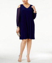 MSK Women's Plus Size Midnight Blue Cold-Shoulder Embellished Shift Dress - $19.12