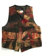 JMT Vintage Patchwork Pelle Gilet Donna Tg. M Cadente Moda - $48.49