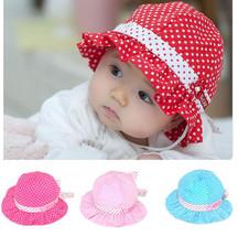 Kids Girl Infant Newborn Baby Polka Dot Flower Sun Hat Cap Beanie Summer... - $0.99+