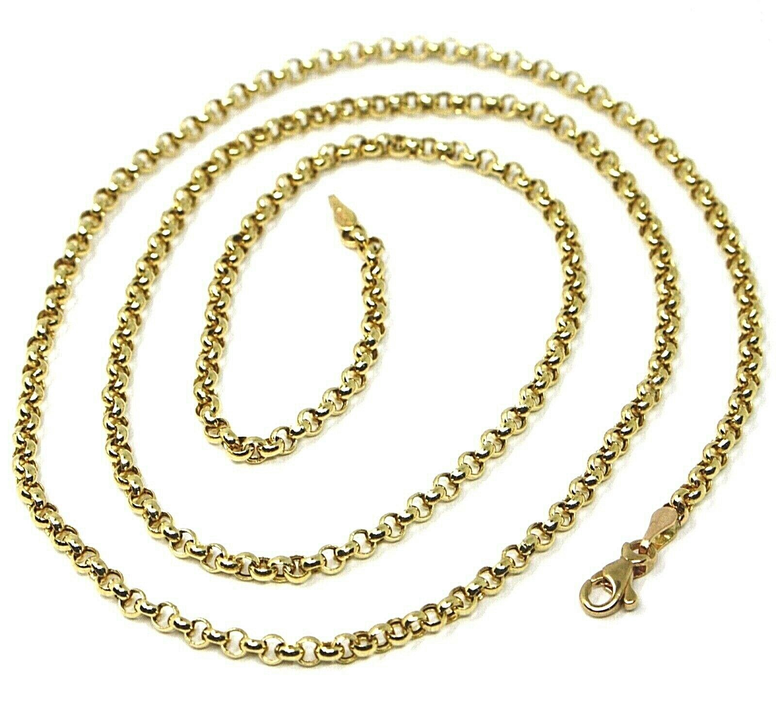 18K YELLOW GOLD ROLO CHAIN 2.5 MM, 16 INCHES, NECKLACE, CIRCLES, MADE IN ITALY