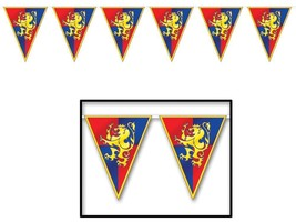 Medieval Banner Prop Gold Lions Pennants 11 x 12 Halloween Haunted House... - $32.99