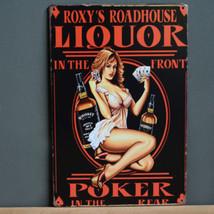 Sexy Lady Metal poster Pin Up Girl Tin Sign Roadhouse Liquor Poker Retro... - £5.08 GBP